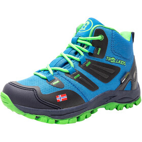 TROLLKIDS Rondane Hiker Botas Corte Medio Niños, medium blue/green